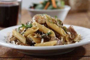 WG penne with chicken , mix mushrooms and Parmigiano